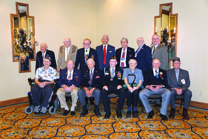 We were honored to have special guest and keynote speaker Ambassador Sichan Siv (center, back row) at our annual banquet, alongside 12 of our WWII veterans, shown here with BOBA President and CEO Gary Higgins (back row, far right).