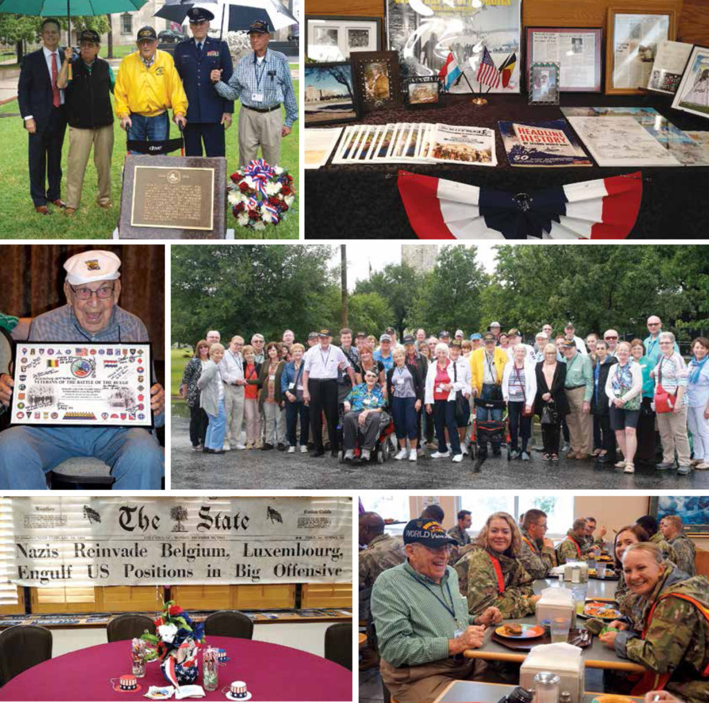 Left-right, from top: Wreathlaying ceremony; Bulge items on display in the hospitality room; Richard E. Cole of the Doolittle Raiders; the whole group at Ft. Sam Houston; the hospitality room set up for socializing; our veterans enjoyed lunch with the troops at Ft. Sam Houston.