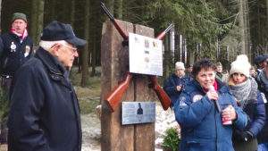 Colonel Doug Dillard (front left) on the walk of remembrance in the Ardennes, January 2017.