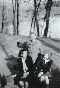 David Hubbard with Louise (left) and Edmée Van Eppen (right), March 1945.