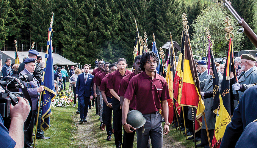 Students from Morehouse College in Atlanta followed by Belgian students, marching to the Wereth 11 Memorial at the 2017 ceremony.
